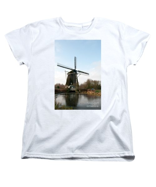 Women's T-Shirt (Standard Cut) featuring the digital art Windmill In Amsterdam by Carol Ailles