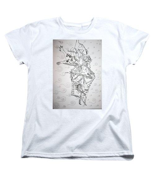 Women's T-Shirt (Standard Cut) featuring the drawing Kiganda Dance - Uganda by Gloria Ssali