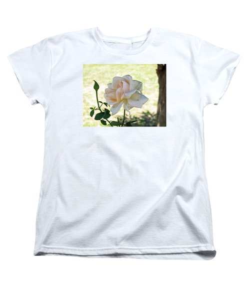 Women's T-Shirt (Standard Cut) featuring the photograph A Beautiful White And Light Pink Rose Along With A Bud by Ashish Agarwal