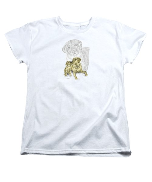 Women's T-Shirt (Standard Cut) featuring the drawing A Mothers Love - Labrador Dog Print Color Tinted by Kelli Swan