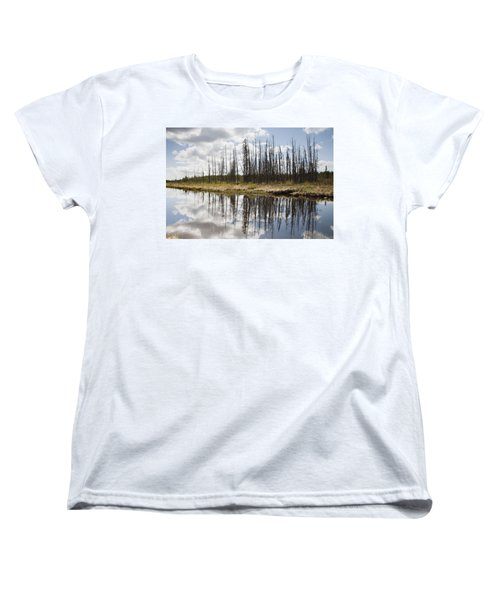Women's T-Shirt (Standard Cut) featuring the photograph A Tranquil River With A Reflection by Susan Dykstra