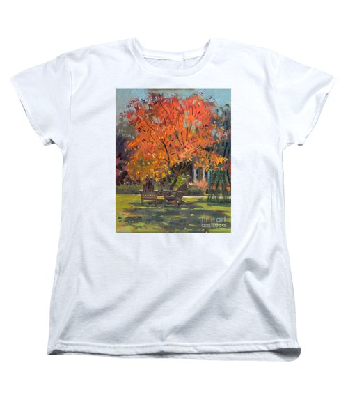 Women's T-Shirt (Standard Cut) featuring the painting Adirondack Chairs by Donald Maier