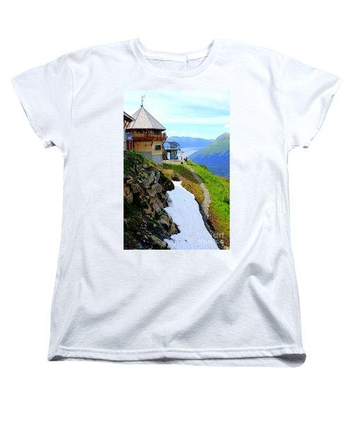 Women's T-Shirt (Standard Cut) featuring the photograph Alyeska Ski Resort Alaska by Kathy  White