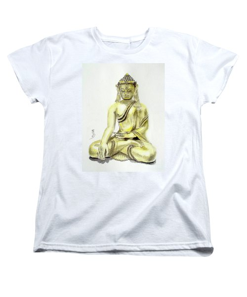 Women's T-Shirt (Standard Cut) featuring the painting An Orient Statue At Toledo Art Museum - Ohio-3 by Yoshiko Mishina