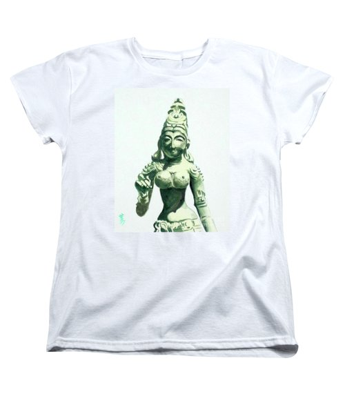 Women's T-Shirt (Standard Cut) featuring the painting An Oriental Statue At The Toledo Museum Of Art-4 by Yoshiko Mishina