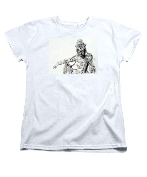 Women's T-Shirt (Standard Cut) featuring the painting An Oriental Statue At Toledo Art Museum - Ohio- 2 by Yoshiko Mishina