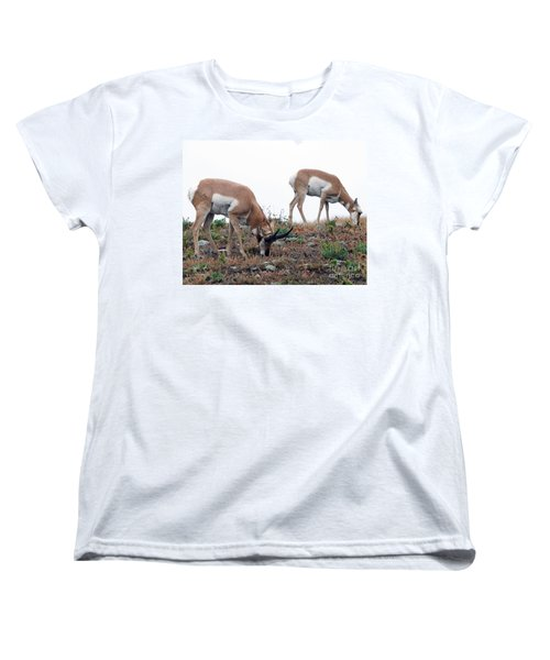 Women's T-Shirt (Standard Cut) featuring the photograph Antelopes Grazing by Art Whitton