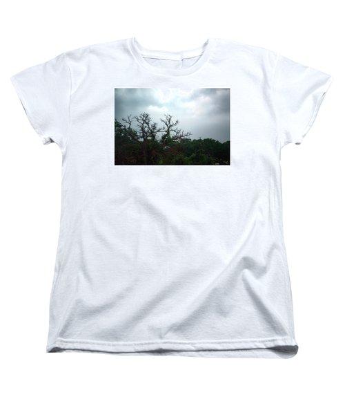 Women's T-Shirt (Standard Cut) featuring the photograph Approaching Storm Viewed Through My Rain Streaked Window by Lon Casler Bixby