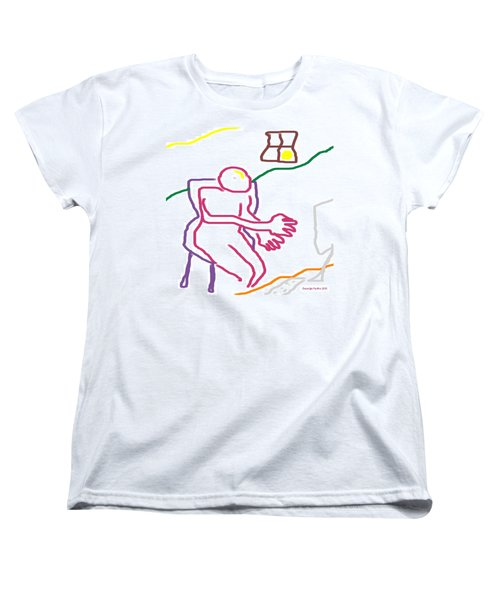 Women's T-Shirt (Standard Cut) featuring the digital art At The Computer by George Pedro