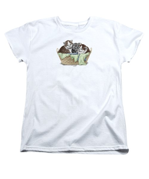 Women's T-Shirt (Standard Cut) featuring the drawing Basket Of Kittens - Cats Art Print Color Tinted by Kelli Swan