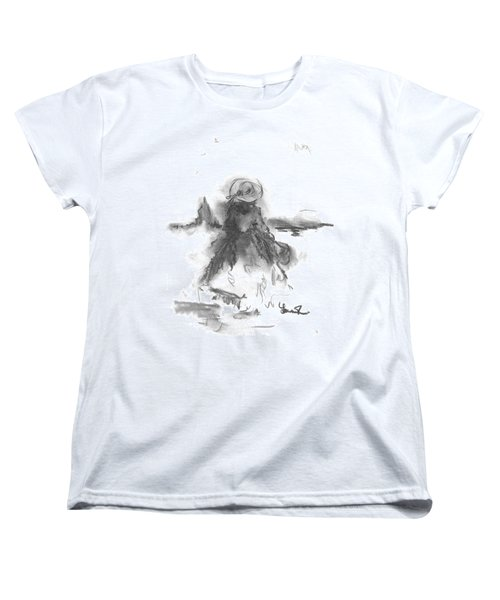 Women's T-Shirt (Standard Cut) featuring the drawing Being Happy by Laurie L