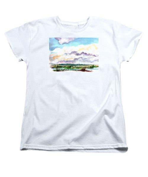 Women's T-Shirt (Standard Cut) featuring the painting Big Clouds by Clara Sue Beym