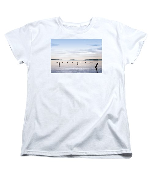Women's T-Shirt (Standard Cut) featuring the photograph Blue Lake Muskoka by Les Palenik