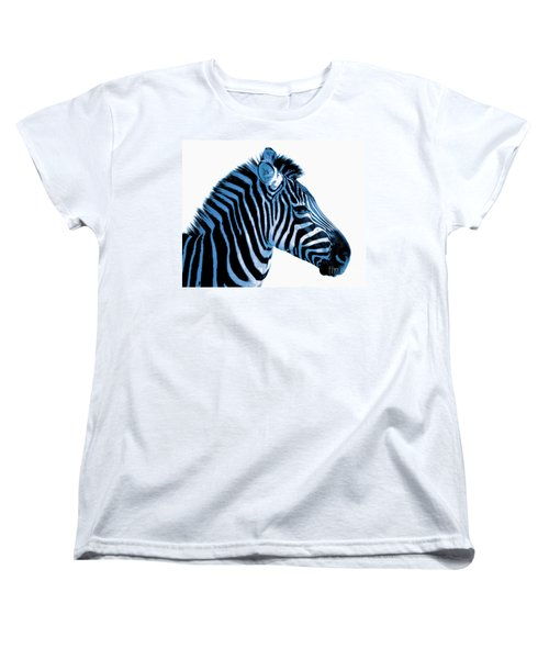 Women's T-Shirt (Standard Cut) featuring the photograph Blue Zebra Art by Rebecca Margraf
