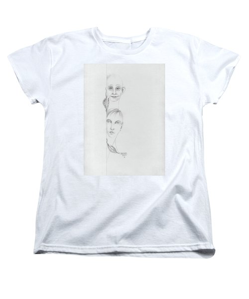 Boy And Girl Looking Over A Wall With Tree Leaves Large Eyes Straight Hair  Women's T-Shirt (Standard Cut) by Rachel Hershkovitz