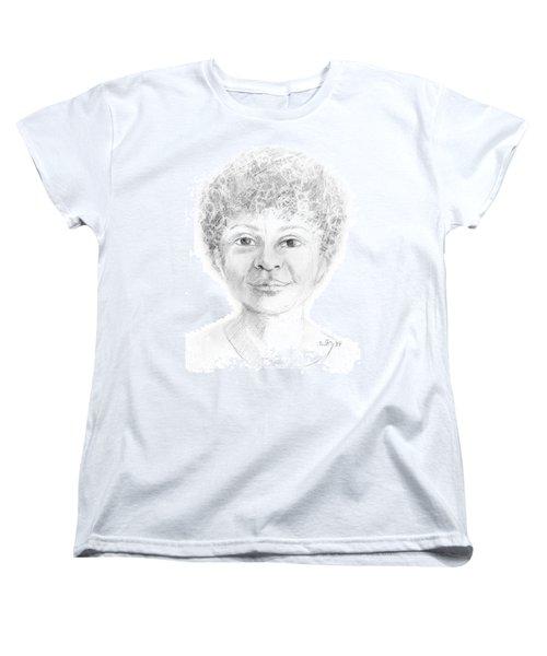 Boy Or Girl Woman Or Man African Or Asian Has Curly Hair Big Lips And A Big Head Women's T-Shirt (Standard Cut) by Rachel Hershkovitz