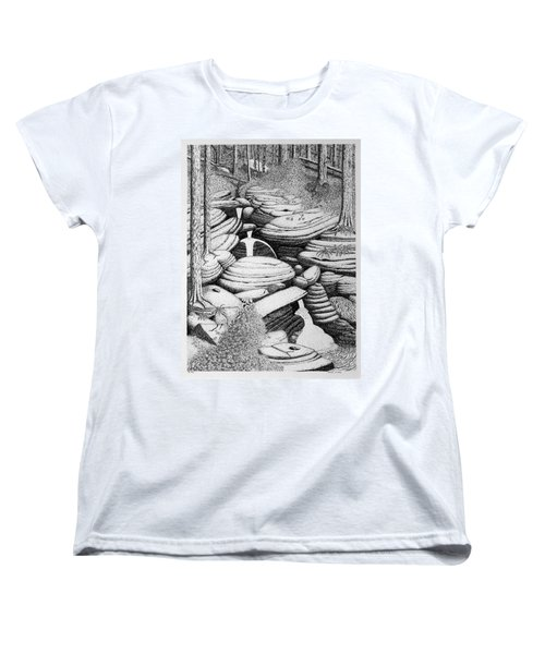 Women's T-Shirt (Standard Cut) featuring the drawing Cascade In Boulders by Daniel Reed