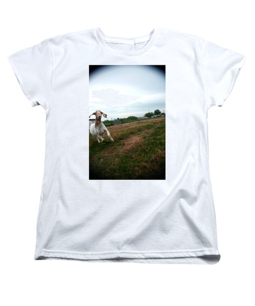 Women's T-Shirt (Standard Cut) featuring the photograph Chased By A Crazy Goat by Lon Casler Bixby