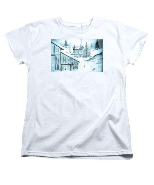Women's T-Shirt (Standard Cut) featuring the drawing Colorado Farm by Shannon Harrington