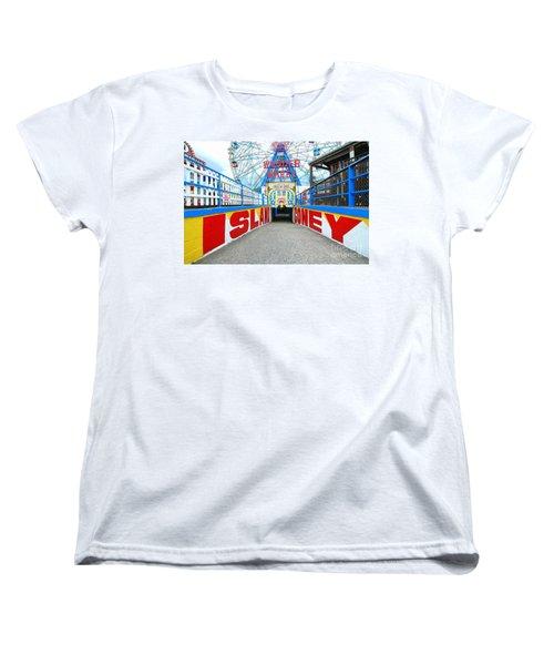 Coney Island Sign Women's T-Shirt (Standard Cut) by Mark Gilman
