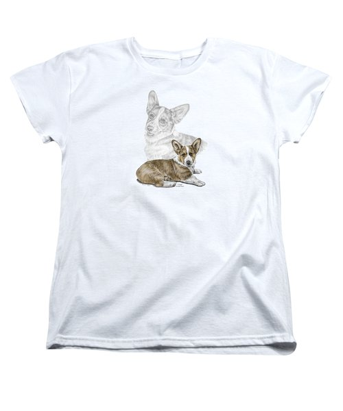 Women's T-Shirt (Standard Cut) featuring the drawing Corgi Dog Art Print Color Tinted by Kelli Swan