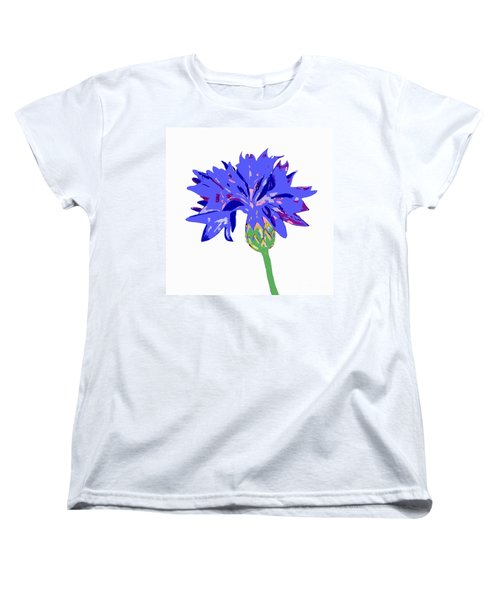Women's T-Shirt (Standard Cut) featuring the digital art Cornflower by Barbara Moignard