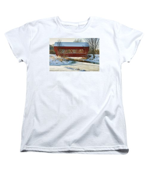 Covered Bridge Women's T-Shirt (Standard Cut) by Eunice Gibb