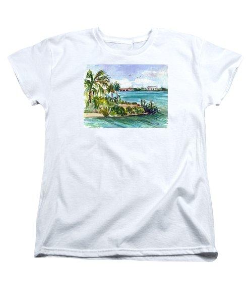 Women's T-Shirt (Standard Cut) featuring the painting Cudjoe Key Bridge by Clara Sue Beym