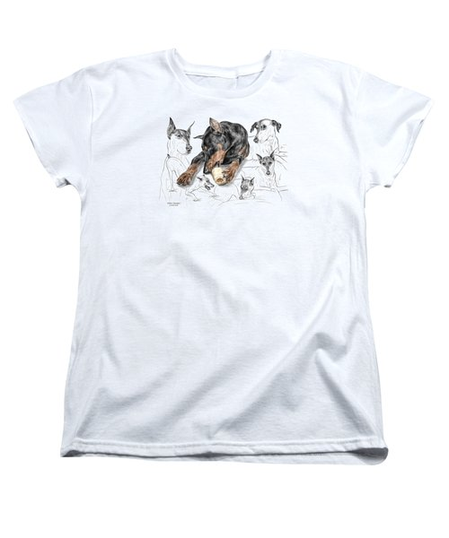 Women's T-Shirt (Standard Cut) featuring the drawing Dober-thoughts - Doberman Pinscher Montage Print Color Tinted by Kelli Swan