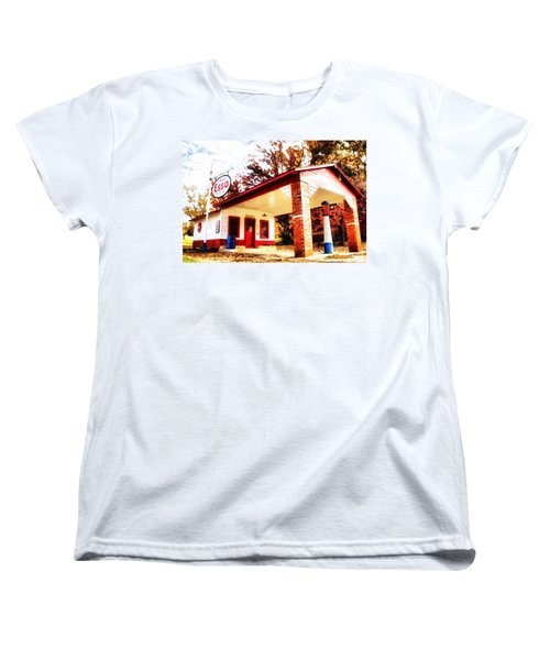 Women's T-Shirt (Standard Cut) featuring the painting Esso Filling Station by Lynne Jenkins