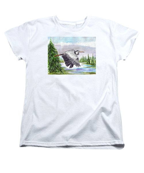 Women's T-Shirt (Standard Cut) featuring the painting Flight Of Fantasy by Clara Sue Beym