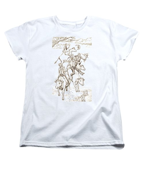 Women's T-Shirt (Standard Cut) featuring the digital art Four Mad Cowboys Of The Apocalypse by Russell Kightley