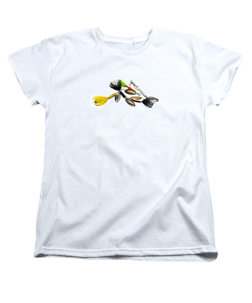 Women's T-Shirt (Standard Cut) featuring the photograph Freshwater Fishing Lures by Susan Leggett