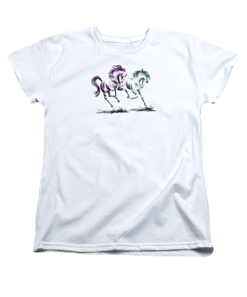 Women's T-Shirt (Standard Cut) featuring the drawing Frolicking - Wild Horses Print Color Tinted by Kelli Swan