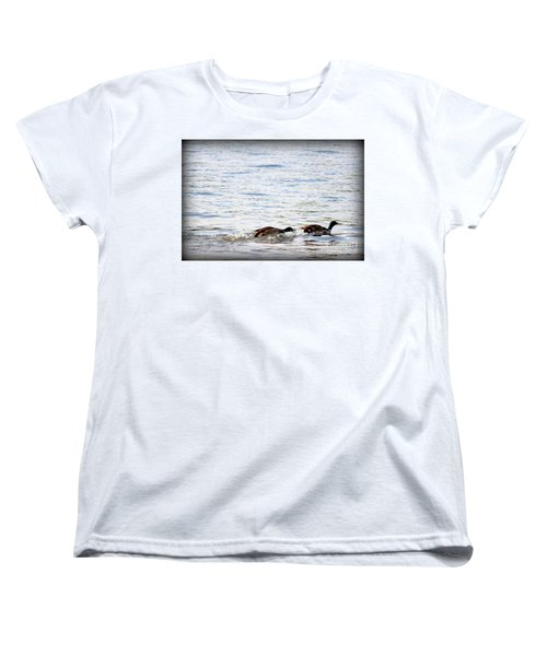 Women's T-Shirt (Standard Cut) featuring the photograph Frolicking Fun by Kathy  White