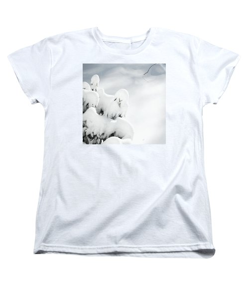 Women's T-Shirt (Standard Cut) featuring the photograph Ghostly Snow Covered Bush by Pamela Hyde Wilson