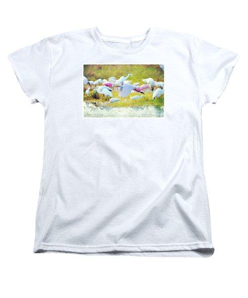 Women's T-Shirt (Standard Cut) featuring the photograph Great Egret Flying by Dan Friend