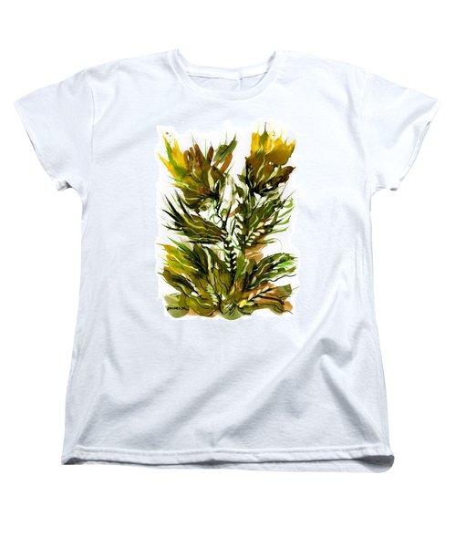 Green Flames Women's T-Shirt (Standard Cut) by Rachel Hershkovitz