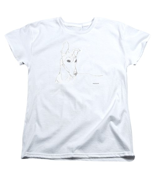 Women's T-Shirt (Standard Cut) featuring the drawing Greyhound by George Pedro