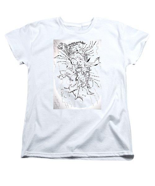 Women's T-Shirt (Standard Cut) featuring the drawing Gule Wamkulu - Malawi by Gloria Ssali