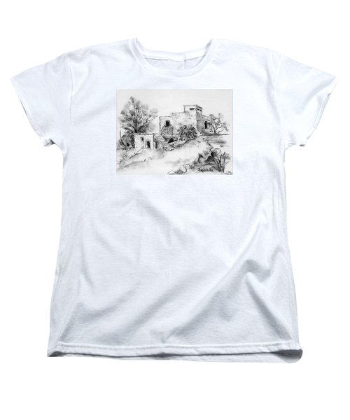 Hirbe Landscape In Afek Black And White Old Building Ruins Trees Bricks And Stairs Women's T-Shirt (Standard Cut) by Rachel Hershkovitz