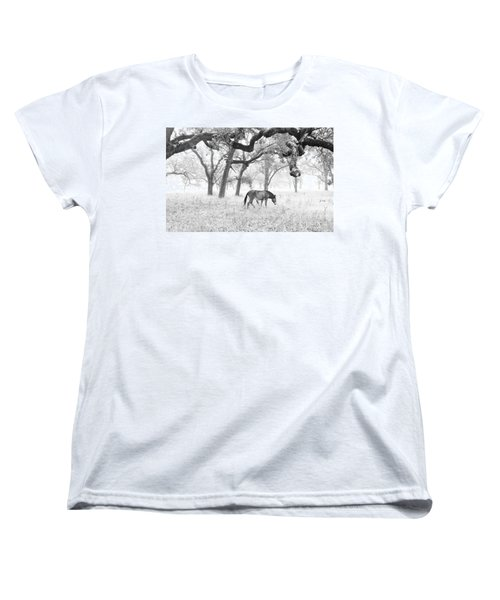 Women's T-Shirt (Standard Cut) featuring the photograph Horse In Foggy Field Of Oaks by CML Brown