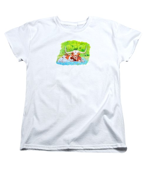 Women's T-Shirt (Standard Cut) featuring the drawing Longhorns In Bluebonnets by Mike Ivey