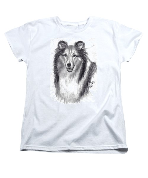 Women's T-Shirt (Standard Cut) featuring the drawing Looks Like Lassie by Julie Brugh Riffey