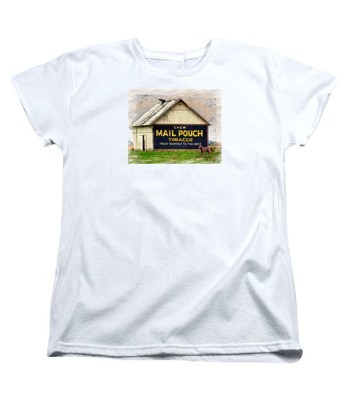 Women's T-Shirt (Standard Cut) featuring the digital art Mail Pouch Barn by Mary Almond