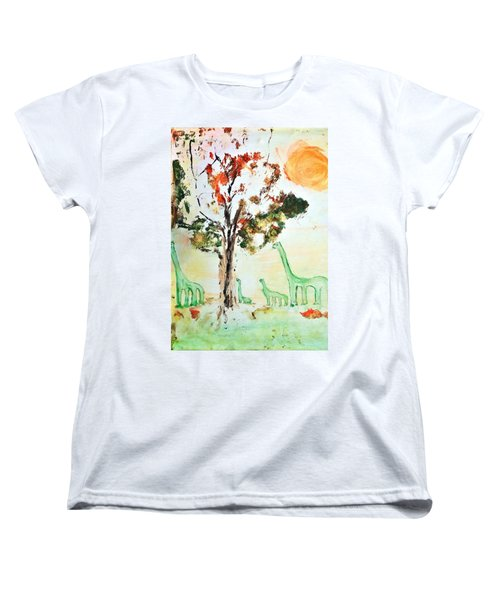 Women's T-Shirt (Standard Cut) featuring the painting Matei's Dinosaurs by Evelina Popilian