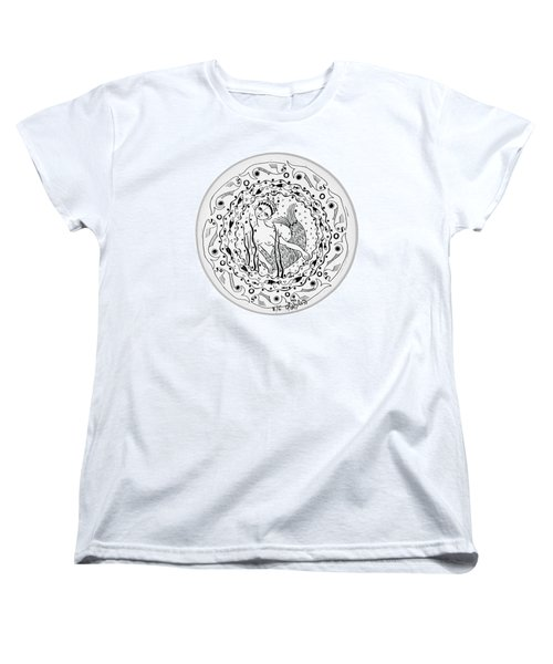 Mermaid In Black And White Round Circle With Water Fish Tail Face Hands  Women's T-Shirt (Standard Cut) by Rachel Hershkovitz