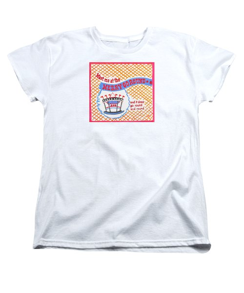 Women's T-Shirt (Standard Cut) featuring the painting Merry Go Round by Beth Saffer