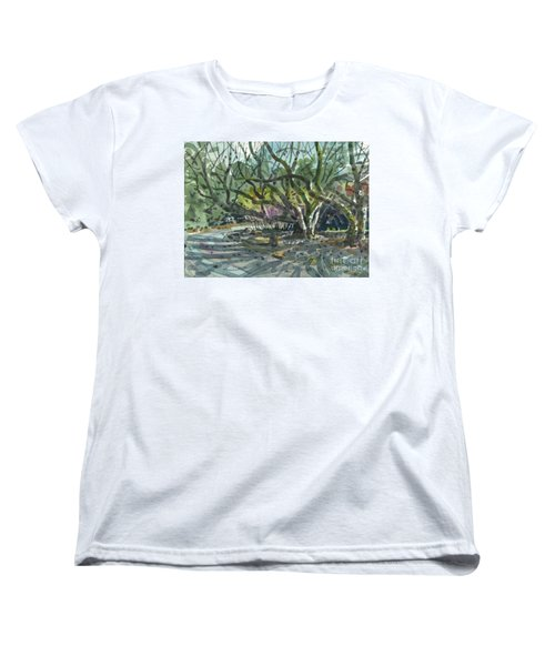 Women's T-Shirt (Standard Cut) featuring the painting Monk Trees Two by Donald Maier