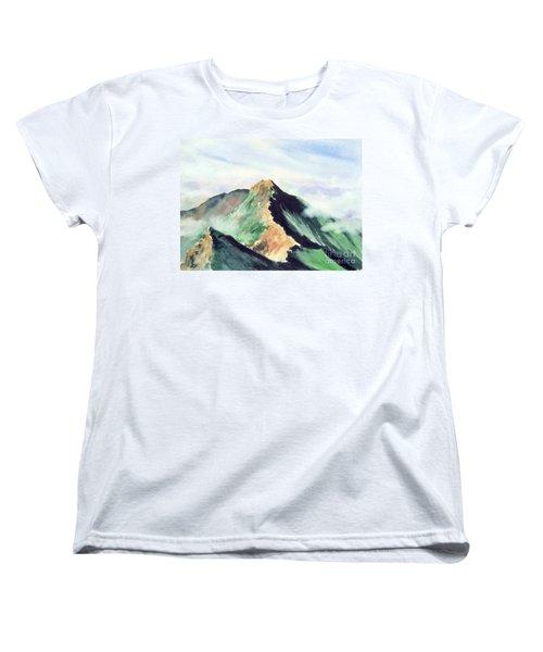 Women's T-Shirt (Standard Cut) featuring the painting Mountain  1 by Yoshiko Mishina